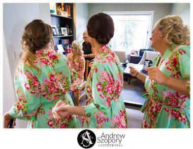 bridesmaids dancing and singing to bride