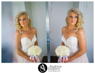 formal window lit portraits of bride reflection of her in a mirror