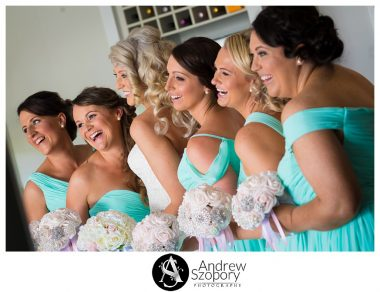 bridesmaids group photo all laughing