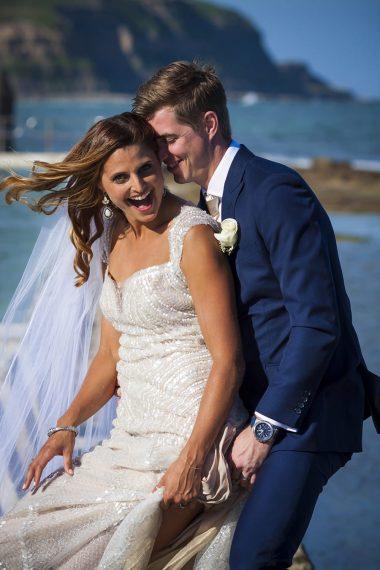 wollongong-beach-wedding-bride laughing and dancing